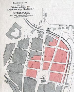 Kartenskizzen über den Wiederaufbau abgerannter Stadtteile in Meiningen